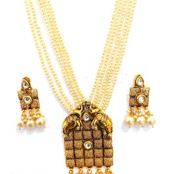 Bold Elephant Pendant Pearl multi stranded Necklace and Earring set