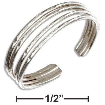 Sterling Silver Hammered Four Band Toe Ring