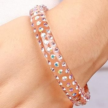 Cotton Candy Sparkle Pink Bangle Bracelet