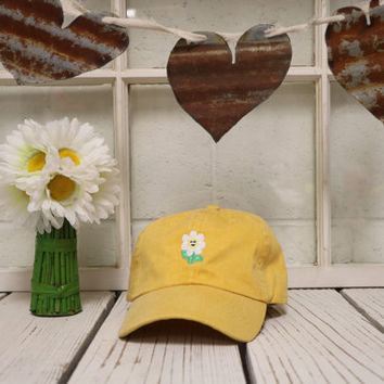 DAISY Baseball Hat Low Profile Embroidered Baseball Caps , Daisies Flower Dad Hats, Burnt Yellow
