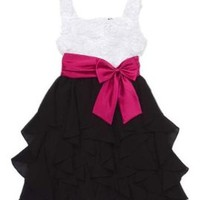 Rare Editions Girls 7-16 Flower Bodice Chiffon Ruffle Skirt Dress, White/Black, 16