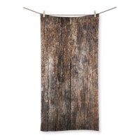 Worn Vintage Wood Planks Beach Towel