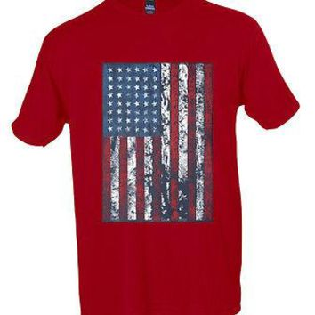 American Muscle Flag T Shirt Vintage US USA Workout Muscle Gym Tee S-3XL