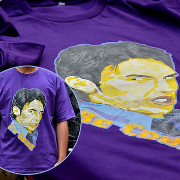 Handmade Manual Print Man Purple Tee Tshirt - Funny James Franco freaks and geeks Be Cool tee t-shirt