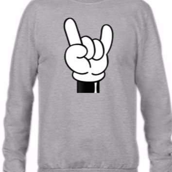 mickey rock on hands - Crewneck Sweatshirt