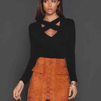 Strappy Lace Up Faux Suede Front Pencil Mini Brown Skirt