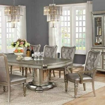 7 pc Danette collection metallic platinum finish wood dining table set with double pedestal base