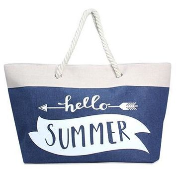 Hello Summer Rope Handle Beach Tote