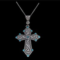 Montana Silversmiths Turquoise Passion Flower Cross Pendant Necklace (NC1182)