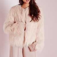 Missguided - Gorilla Faux Fur Coat Nude