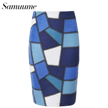 Samuume 2016 Vintage Multi Color Geometry Print Embroidery Midi Skirts Women Sexy Bodycon Pencil Skirt Saias Faldas A1609015