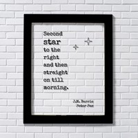 Second star to the right and then straight on till morning. - J.M. Barrie - Peter Pan Floating Quote