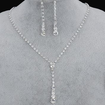 TREAZY Silver Plated Celebrity Style Drop Crystal Necklace Earrings Set Bridal Bridesmaid Wedding Jewelry Sets