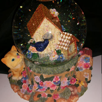 ON SALE Cat Musical Globe Birdhouse Musical snow globe  Vintage Snow globe