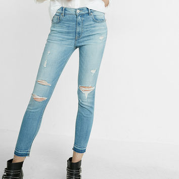 high waisted distressed performance stretch cropped jean legging