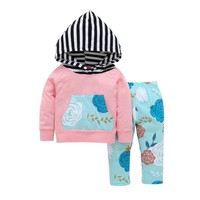 6M-24M Baby Girl Floral Hoodie 2Pc Outfits