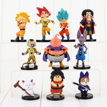 10pcs/lot 4-9cm Dragon Ball Z Figure Toy Goku Vegeta Super Saiyan Hercule Frieza Buu Beerus Whis Anime DBZ Mini Model Doll