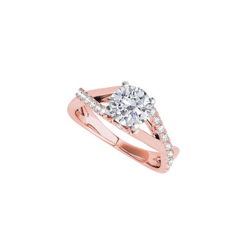Criss Cross CZ Engagement Ring in 14K Rose Gold Vermeil: RS4