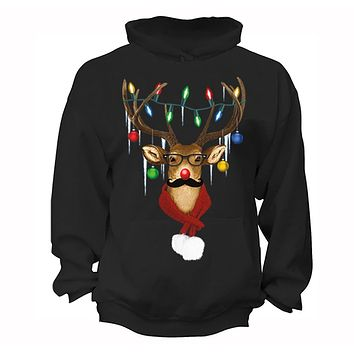 XtraFly Apparel Men's Reindeer Wearing Sweater Moustache Lights Ugly Christmas Hooded-Sweatshirt Pullover Hoodie