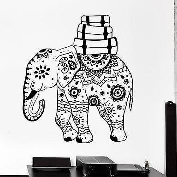 Wall Vinyl Elephant African Animal Ornament Mural Vinyl Decal Unique Gift (z3341)