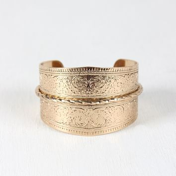 Filigree Etched Cuff Bracelet