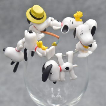 7pcs/set Peanuts Charlie Brown Cup Edge Figure Model Dolls Kids Friend Birthday Gift Wedding Christmas New Year Gifts for Guests