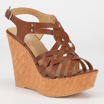 Soda Rexana Womens Wedges Tan  In Sizes