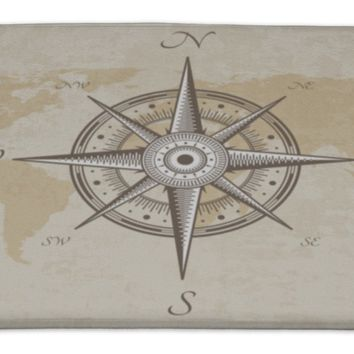 Bath Rug Mat No Slip Microfiber Memory Foam, Silver Vintage Nautical Compass Old Map Paper Torn Border Frame Wind, 34x21