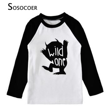 SOSOCOER Boy T-shirts Autumn Cartoon Wild One Long-Sleeve Girl T Shirt 2017 New Brand Cute Moster Kids T Shirts For Baby Clothes