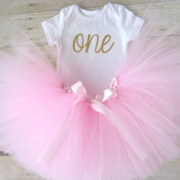"""1st Birthday Tutu Outfit with Glitter """"ONE"""""""