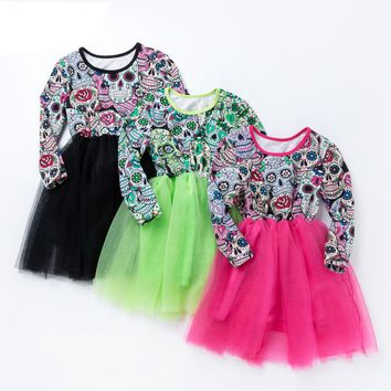 Children Dress Party Skull Dress Toddler Girls Clothes Long Sleeve O-neck