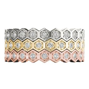 Stackables Full Eternity Tri-Tone Gold Honeycomb 3-Band Set