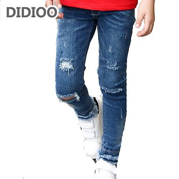 Kids Ripped Jeans For Girls Clothes Casual Brand Pencil Pants Girls Denim Trousers Spring Autumn Children Clothing