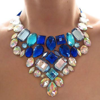 Blue and Crystal AB Rhinestone Bib Necklace, Blue and White Necklace, Jeweled Bib, Fantasy Statement, Dramatic Necklace