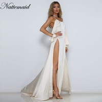 2017 Summer dress Women satin maxi long dresses  Female off shoulder Side Split  Sexy Clubwear Party vestidos White Robe