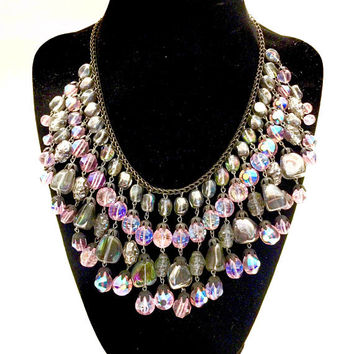 Hobe' Crystal Bib Collar, Rare Art Glass Dangles Pink & Smoky Grey Iridescent Glass Beads, Vintage Statement Necklace, Designer Signed
