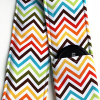DSLR Camera Strap Cover - Padding and Lens Cap Pocket Included - Rainbow Chevron
