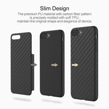 Iphone 8 Plus Case Iphone 7 Plus Case [carbon Fiber] [light Thin Cover] [non Slip] [fingerprint Free] Drop Protection Case Cover For Apple Iphone 8 Plus/iphone 7 Plus Black