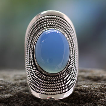 Sterling silver cocktail ring, 'Jaipur Skies'