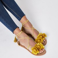 Yellow flower tie ankle sandals - Sandals - Shoes & Boots - women