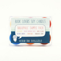 BIBLIOPHILE -- Tea Light Sample Pack -- Book Lovers' Scented Soy Candles