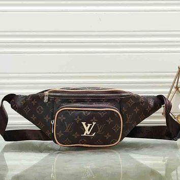0288c5c674a Louis Vuitton LV Women Leather Waist Bag Single-Shoulder Bag Cro
