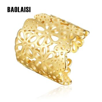 BAOLAISI Flowers Butterfly Big Rings For Women 316L Stainless Steel Gold-Color Jewelry Fashion Ring Wedding Rings Anniversary