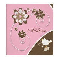 Baby Girl Photo Album in Pink and Brown Binder from Zazzle.com