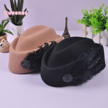 Luxury Feather Wool Beret Hat For Women Russian Vintage Wool Felt Winter Ladies Feather Fedora Hat Stewardess Cap Camel Red Blue