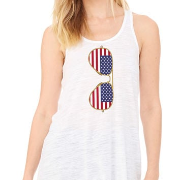 American Flag Sunglasses Flowy Tank Top
