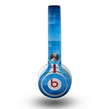 The Vivid Blue Techno Lines Skin for the Beats by Dre Mixr Headphones