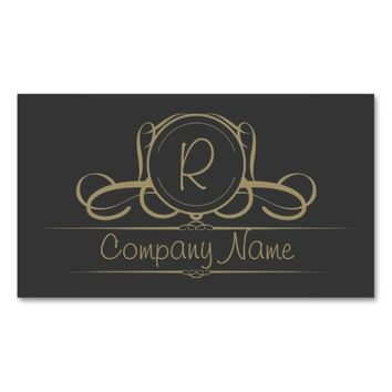 Classy Steel Grey & Tan Monogram Business Card