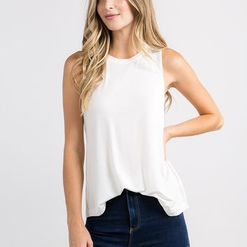 Sleeveless Flowy Muscle Tee in White