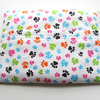 Multi-Color Paw Print Cordless Microwave Heating Pad, Hot or Cold, Choose Lavender Scented or Unscented, Removable, Washable Flannel Cover